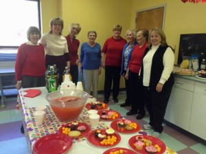 Club members attend the Life Experiences annual Valentine's party, February 2015